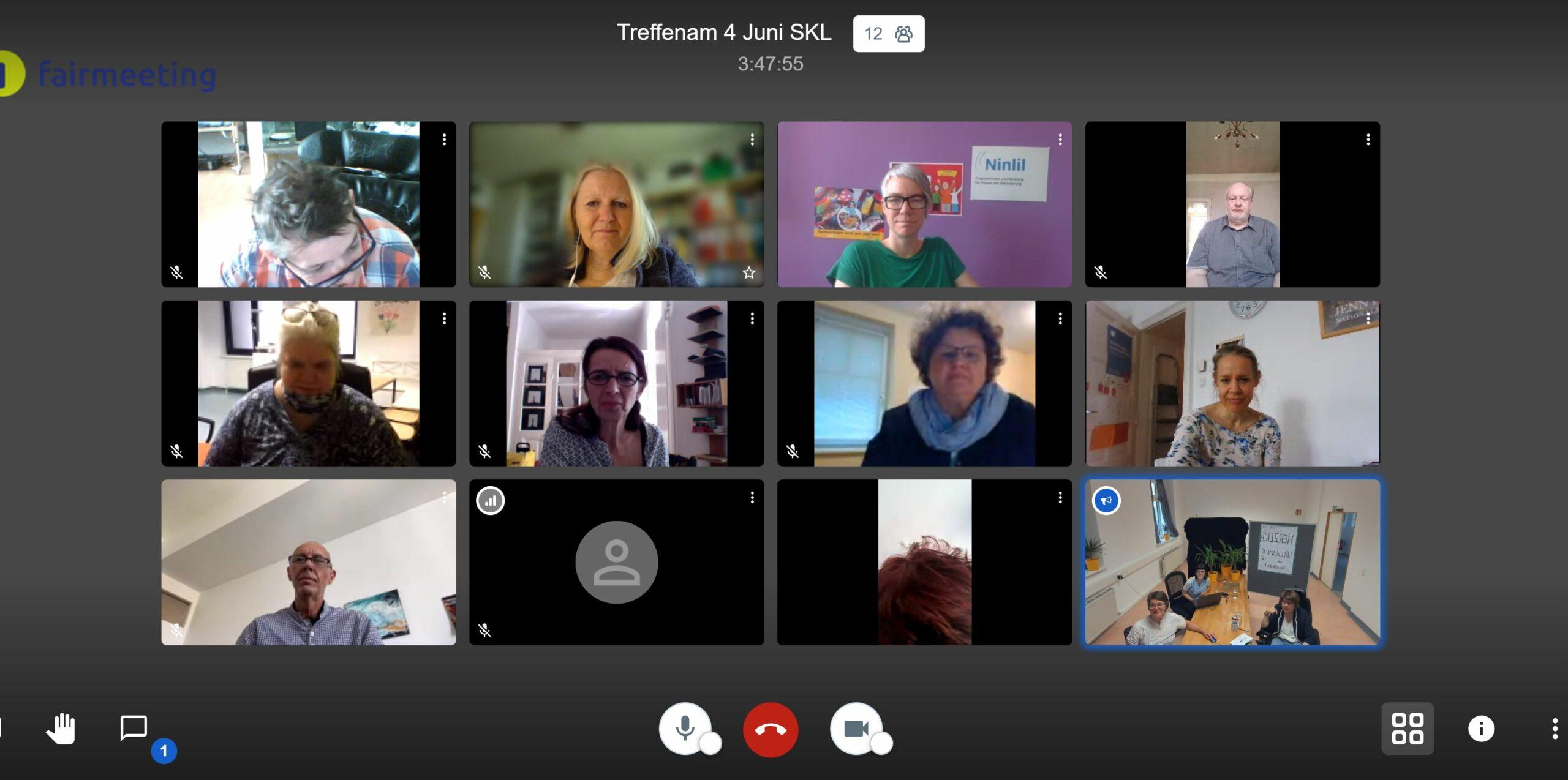 Das Bild zeigt einen Computerbildschirm. Man sieht verschiedene Personen in einem kleinen Rahmen. Diese Personen nehmen an einer Videokonferenz teil. Die Videokonferenz ist das erste Treffen des Fachbeirats der Agentur Sonnenklar