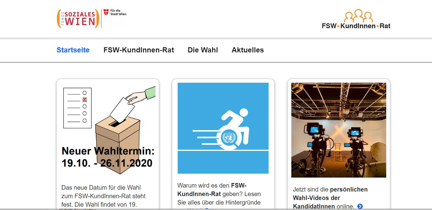 Eine Aufnahme der Homepage des FSW-KundInnen-Rat