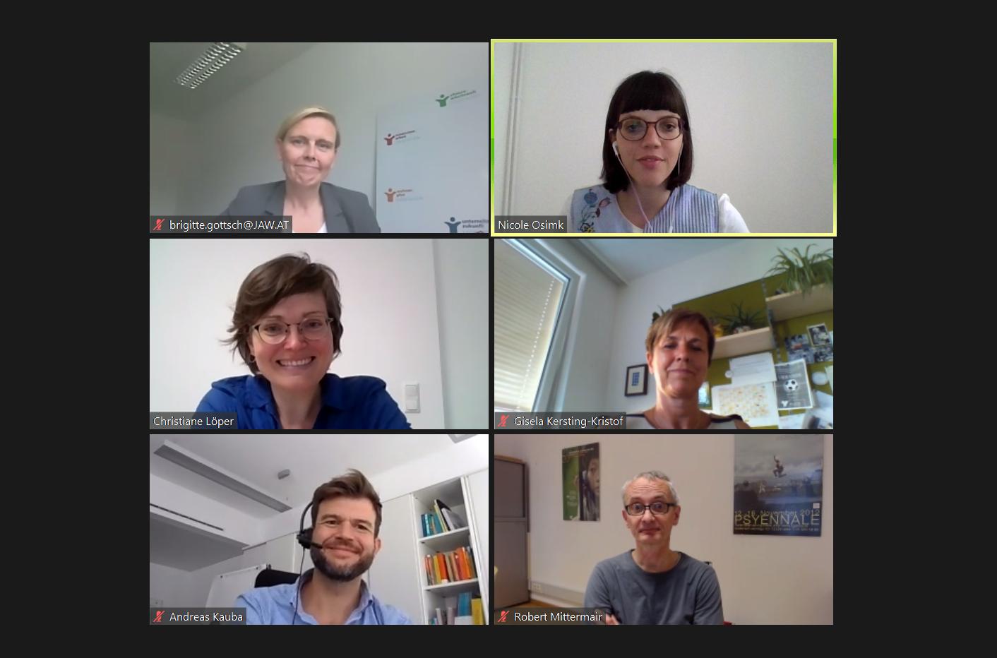 Das Foto zeigt Teilnehmerinnen und Teilnehmer und 1 Moderatorin eines Online Workshops auf Zoom