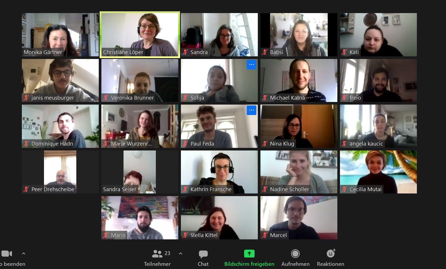 Zoom Bildschirmfoto von einem Austausch mit Studierenden der Schule für Sozialbetreuungsberufe der Caritas Wien