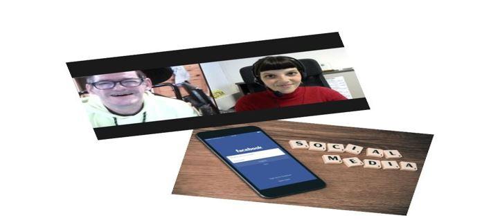 """Collage aus 2 Fotos: Zoom Screenshot Roland Übelbacher und Nicol Osimk. Darunter Foto mit Handy und Scrabble Buchstaben, die den Begriff """"Social Media"""" formen."""