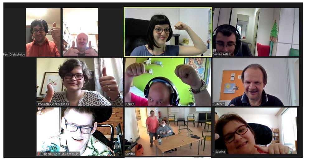 Bildschirmfoto aus Zoom-Meeting mit Peer-Streitschlichter und Streitschlichterinnen und Projektleitung